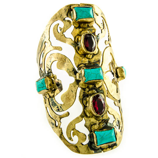 Indulge Oxidized Filigree Cuff with Turquoise